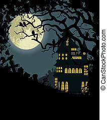 Halloween background with haunted house, tree, crows and cemetery
