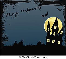 Halloween background with house near graveyard
