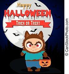 Halloween background with kid werewolf. Vector illustration
