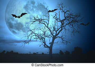 Halloween background with moon and bats.