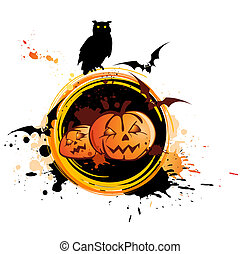 Halloween background with owl, pumpkin and grunge background...