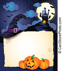 Halloween background with parchment, vector eps10