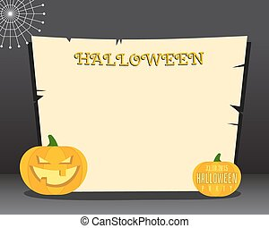 Halloween background with place for text. Happy halloween flyer card, poster. Dark design with pumpkins. web and retro paper. Vector
