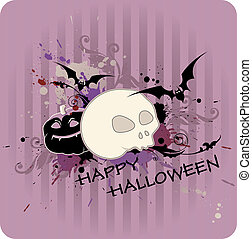 Halloween background with pumpkin and skull