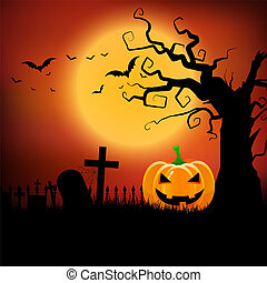 halloween background with pumpkin and spooky tree 2708