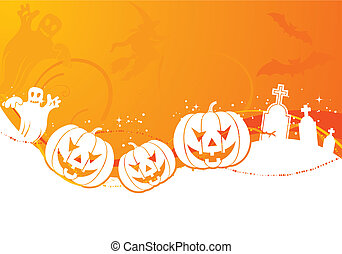 Halloween background with pumpkin, element for design,...
