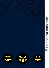 Halloween background with pumpkin faces.