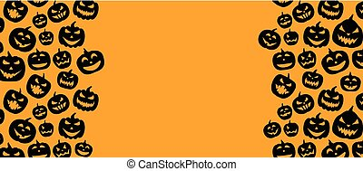 Halloween background with pumpkin faces pattern.
