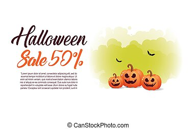Halloween  background with pumpkin, full moon for sale