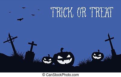 Halloween background with pumpkin in grave