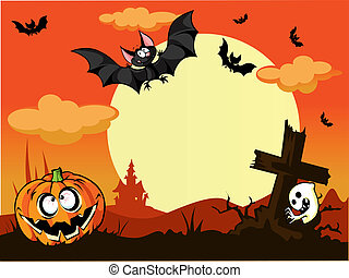 halloween background with pumpkin in the grass, grave and moon