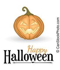 Halloween background with pumpkin lantern