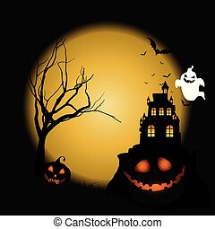 Halloween background with pumpkins against castle landscape