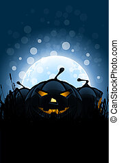 Halloween Background with Pumpkins and Moon