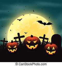 Halloween background with pumpkins in the graveyard.