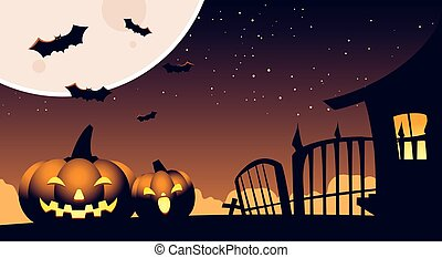 halloween background with pumpkins on the cemetery