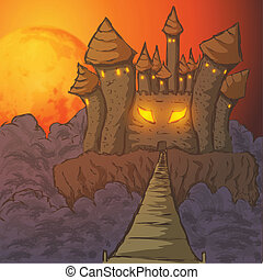halloween background with scary castle vector