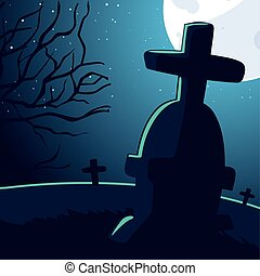 halloween background with scary cemetery and moon full
