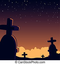 halloween background with scary cemetery