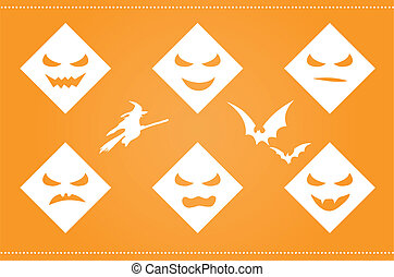 Halloween background with scary faces and silhouettes