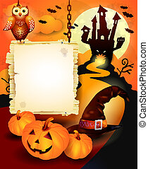 Halloween background with sign, in orange