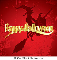 Halloween background with  silhouette of flying witch