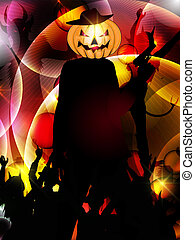 halloween background with silhouette of people