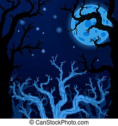Halloween background with Silhouettes of Halloween trees. Halloween bare spooky scary trees on Moon background. Vector illustration
