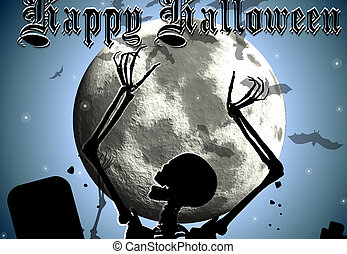 Halloween background with skeleton rising out from the ground against a moonlit sky