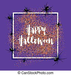 Halloween background with spiders on white frame