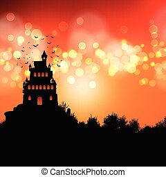 halloween background with spooky castle landscape 2008