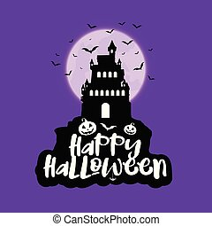 Halloween background with spooky house against moon