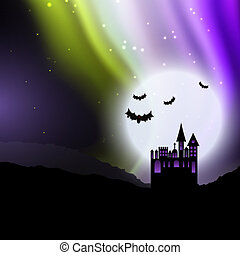 halloween background with spooky house and northern lights 2408