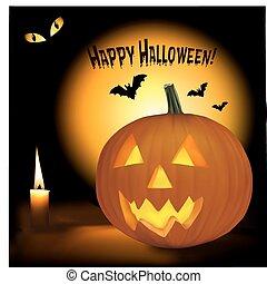 Halloween background with spumpkins