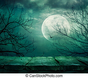 Halloween background with table - Halloween background. ...
