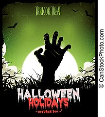 Illustration of a cartoon spooky zombie hand, inside halloween night landscape background