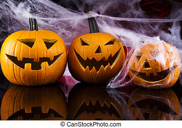 Halloween background with web