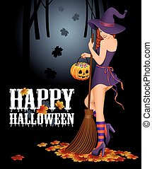 Halloween background with witch.