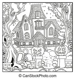 Halloween background with Witch house outlined for coloring page
