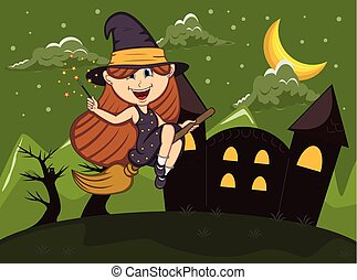 Halloween background with witches flying using broom stick...