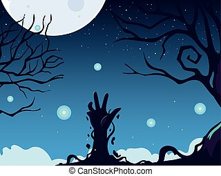 halloween background with zombie hand and full moon