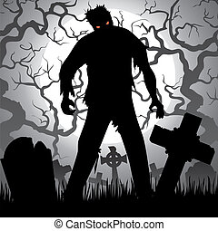 zombie - Halloween background with zombie, tree, tombstones...