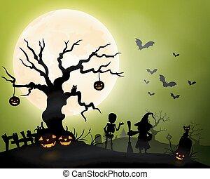 Halloween background with zombie,pu