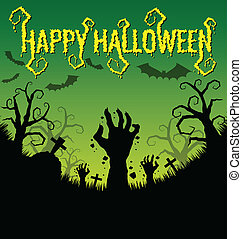 Halloween background with zombies hand and bat