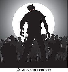 zombies - Halloween background with zombies, tombstones and ...