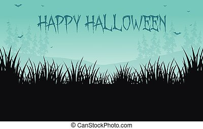 Halloween backgrounds grass of silhouette