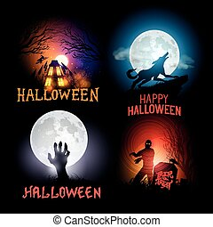 Halloween Backgrounds - Halloween Vector Backgrounds. Scenes...
