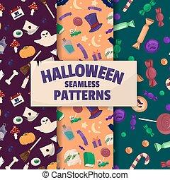 Halloween backgrounds. Set of seamless patterns