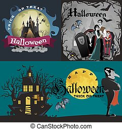 Halloween backgrounds set with vampire and their castle under full moon and cemetery, Draculas monster in coffin flat vector illustrations, good for goth party invitation or flyer, greeting card