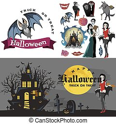 Halloween backgrounds with vampire and their castle on cemetery, Draculas monster in cloak flat vector illustrations, good for goth party invitation or flyer, greeting card